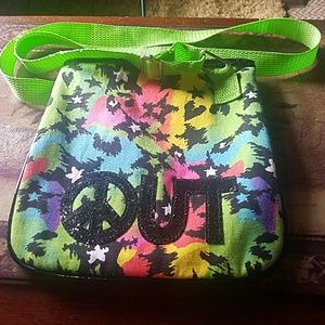 "Handbags - Casual zip close 'PEACE OUT"" symbol purse"